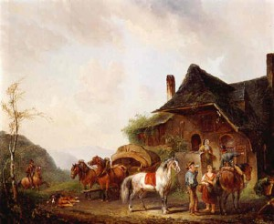 Horsemen and travellers outside an inn - Pieter van Os