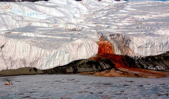 Blood Falls pouring into Lake Bonney in Antarctica