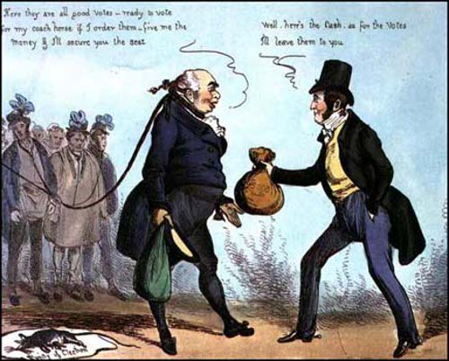 "Rotten Boroughs:  ""How to get made an MP"" - Heath cartoon, 1830"