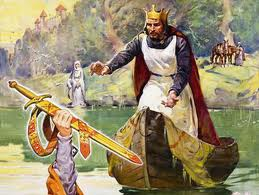 The Lady of the Lake gives Excalibur to Arthur.