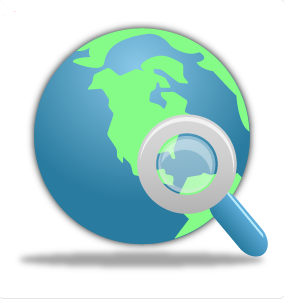 search globe magnifying glass